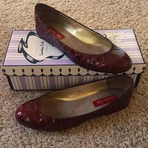 London Sole 'Meribel' Patent Burgundy Flats